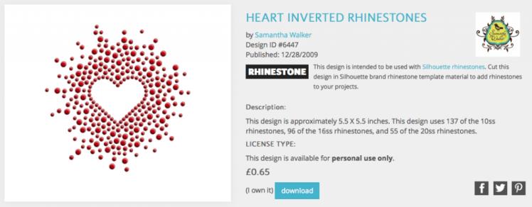 Heart rhinestones